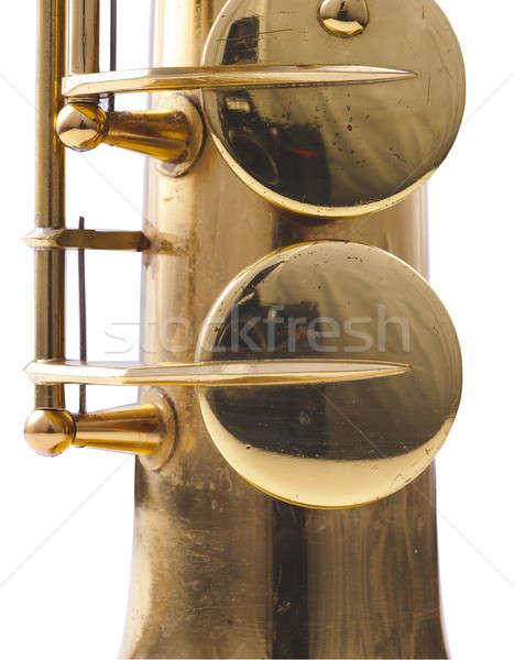 Saxófono detalle dorado música metal jazz Foto stock © advanbrunschot