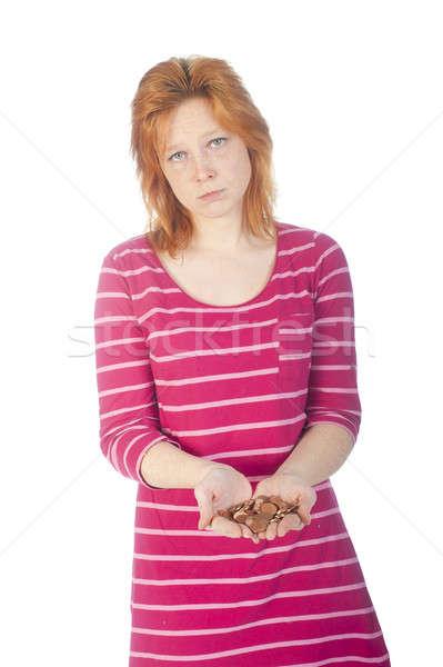 Pobreza menina para cima moedas mão mulher Foto stock © advanbrunschot