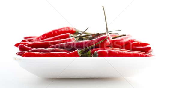 Pimienta frescos rojo caliente pimientos aislado Foto stock © advanbrunschot