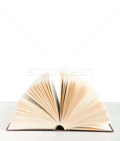 Open boek tabel geïsoleerd witte achtergrond onderwijs Stockfoto © aetb