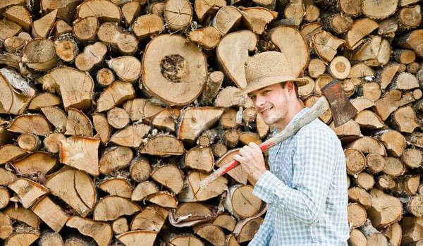 Szalmakalap fa boldog erdő munka otthon Stock fotó © aetb