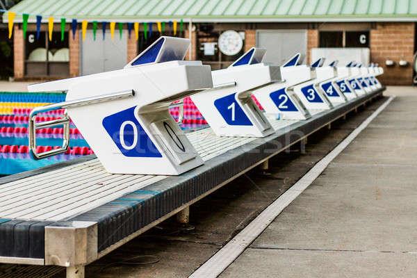 Olympic Pool Starting Blocks Stock photo © aetb