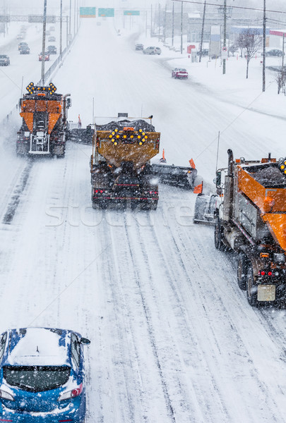 Tree Lined-up Snowplows Clearing the Highway Stock photo © aetb