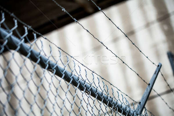 Outdoor Fence Detail of Sharp Barbwire Installation. Stock photo © aetb