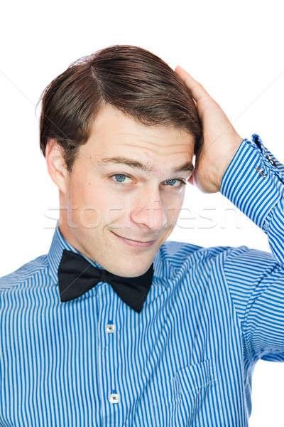 Orgoglioso bello gentiluomo isolato bianco Foto d'archivio © aetb