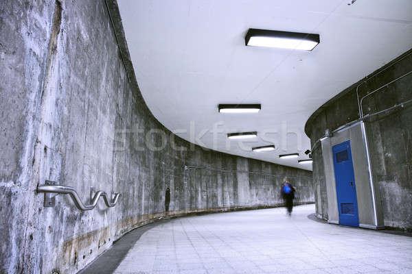 Yeraltı grunge metro koridor bir kişi güzel Stok fotoğraf © aetb