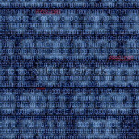Hacker siluet ikili parola siyah arka plan Stok fotoğraf © aetb