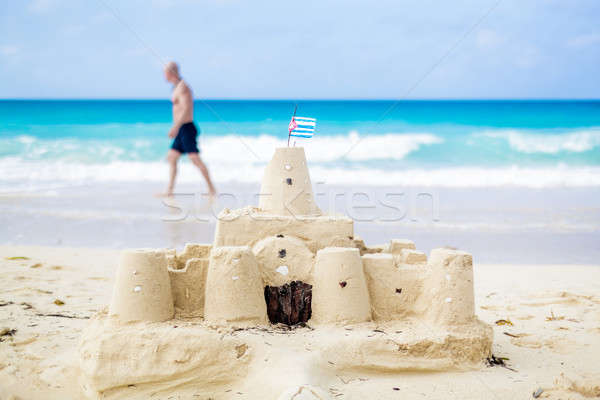 Cuban Sandcastle with the country Flag in Cuba. Stock photo © aetb