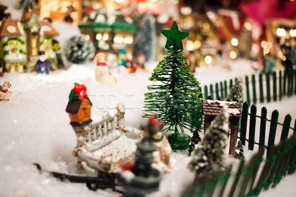 Minyatür Noel köy noel ağaç Stok fotoğraf © aetb