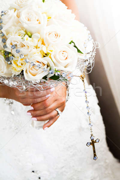 Bride's Bouquet and Rosary Details Stock photo © aetb