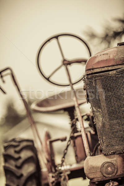 Old Red Vintage Tractor Stock photo © aetb