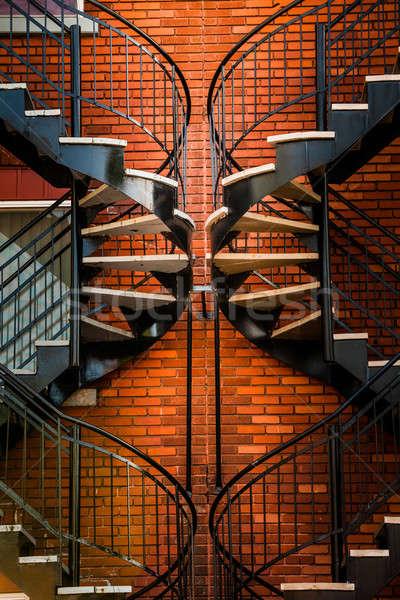 対称の 美しい オレンジ レンガの壁 テクスチャ 木材 ストックフォト © aetb