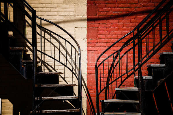 Symmetrical Staircases with two different colors Stock photo © aetb