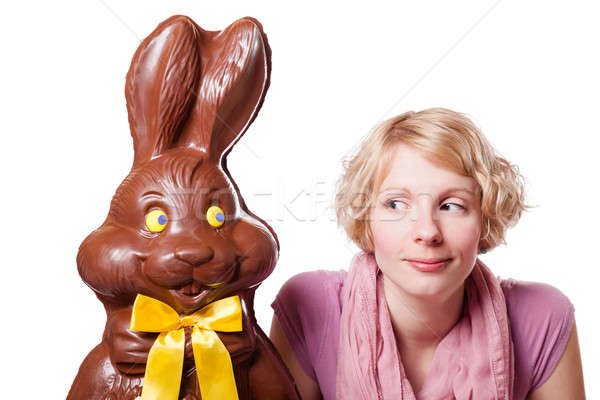 çikolata easter bunny bakıyor sarışın kız diğer Stok fotoğraf © aetb