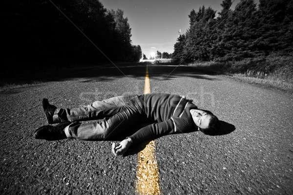 Lege weg lijk midden nacht man Stockfoto © aetb