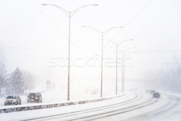 Disturbing Sunset Light and Snowstorm on Highway Stock photo © aetb