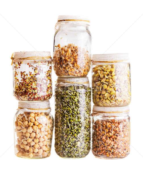 Diferente semillas creciente vidrio jar Foto stock © aetb
