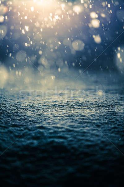 Neige nuit rétroéclairage effet ciel Photo stock © aetb