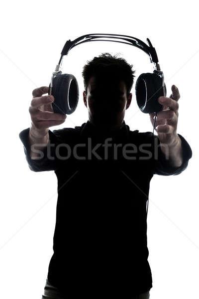 男性 シルエット ヘッドホン 孤立した 白 ストックフォト © aetb