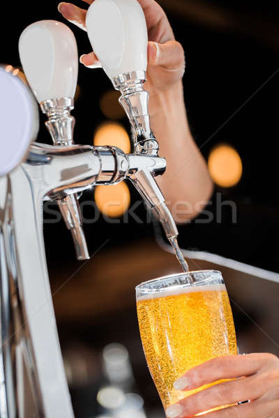 Pouring a Draft Blonde Beer from the Tap Stock photo © aetb