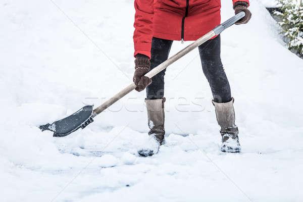 クローズアップ 女性 駐車場 自然 冬 嵐 ストックフォト © aetb