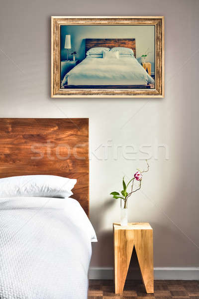 Clean and Modern Bedroom with fun Canvas on the Wall Stock photo © aetb