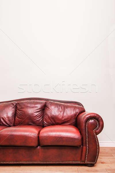 Lüks kırmızı deri kanepe duvar Stok fotoğraf © aetb