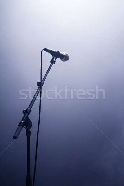 Mikrofon czeka głos sylwetka etapie tle Zdjęcia stock © aetb
