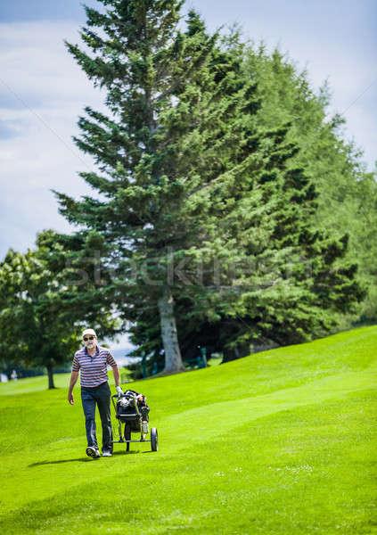 Volwassen golfer golfbaan lopen golftas gras Stockfoto © aetb