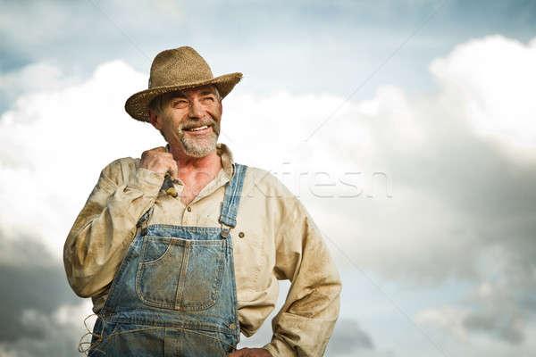 1930 agricoltore sorridere sole Foto d'archivio © aetb