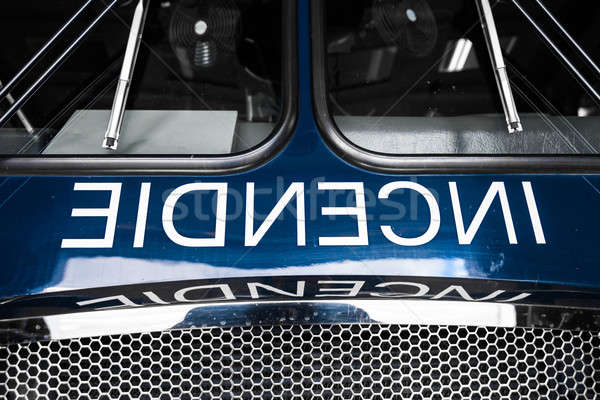 Blue Firetruck Details of the Front with Wording Stock photo © aetb
