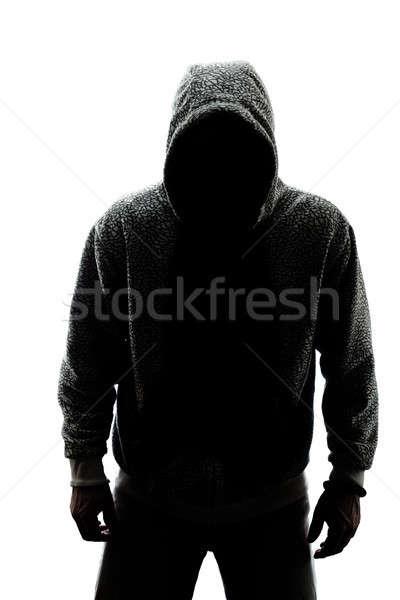Geheimnisvoll Mann Silhouette isoliert weiß Gesicht Stock foto © aetb
