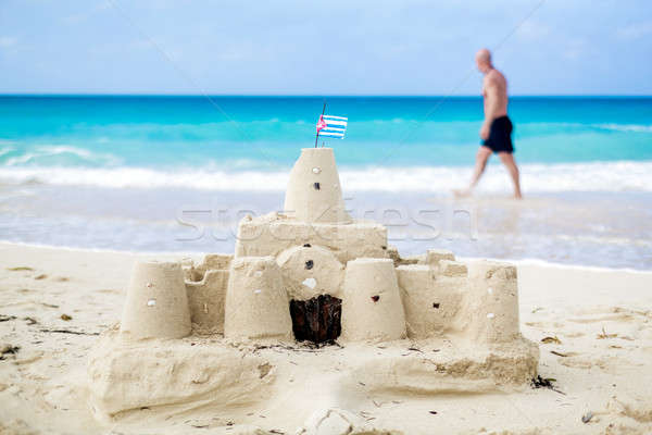 Sandcastle pays pavillon Cuba une Photo stock © aetb
