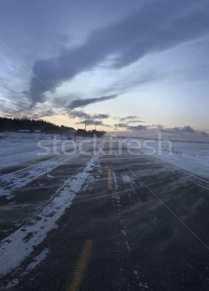 Storm дороги холодно зима день закат Сток-фото © aetb