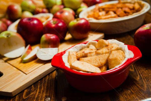 Torta mesa pan rojo interior Foto stock © aetb