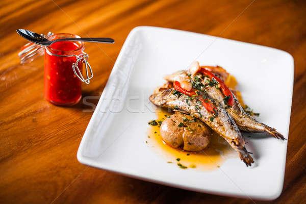 Alla griglia piatto rosso pepe patate alimentare Foto d'archivio © aetb