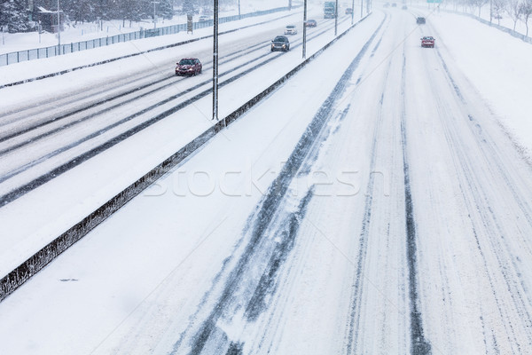 Close-up of Snowy Highway from Above Stock photo © aetb