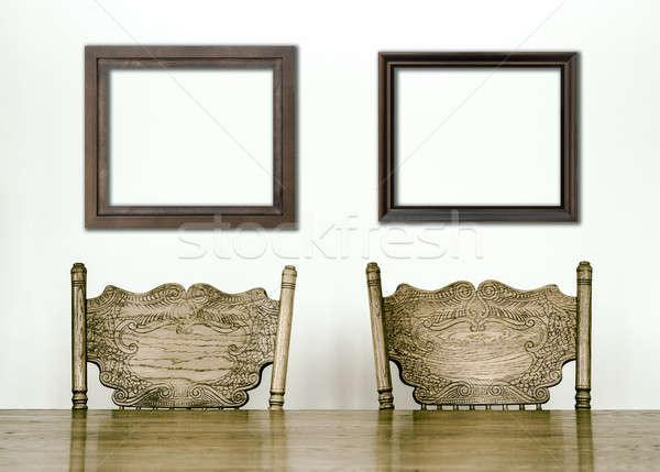 Ahşap yemek odası tablo sandalye ayrıntılar kareler Stok fotoğraf © aetb