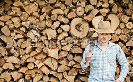 Szalmakalap fa erdő munka otthon ipar Stock fotó © aetb