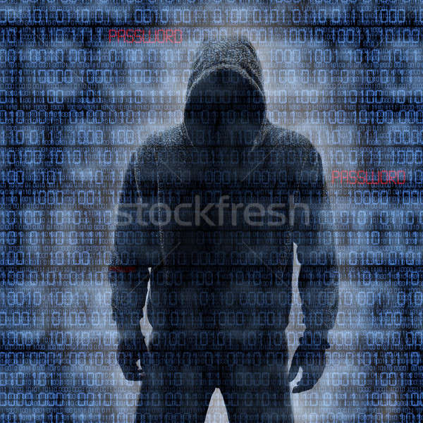 Hacker in Silhouette and Binary Codes in Background Stock photo © aetb