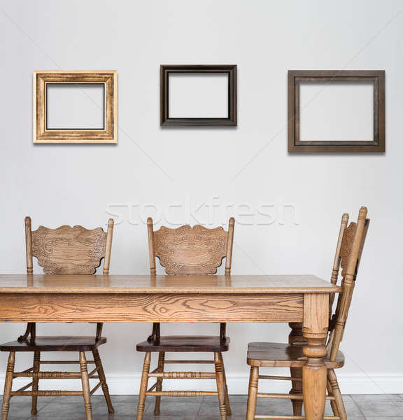 Wooden Dining room table and chair details Stock photo © aetb