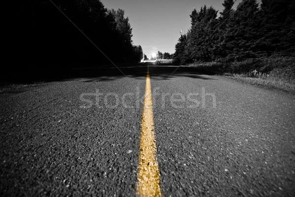 Empty road with Yellow Dividing line at Night Stock photo © aetb