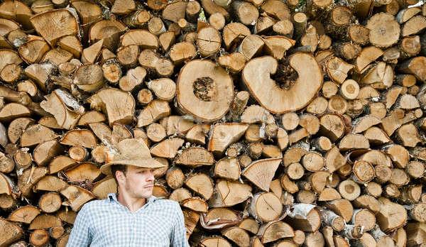 Hasır şapka ahşap küçük kırmak orman Stok fotoğraf © aetb