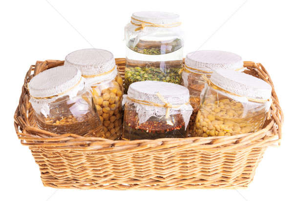 Basket of Soaked Sprouting Seeds Stock photo © aetb