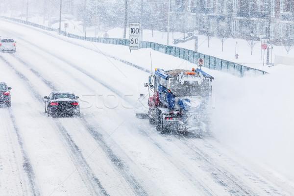 Hó autópálya teherautó hideg tél nap Stock fotó © aetb