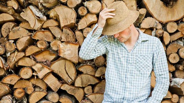 Hasır şapka ahşap orman çalışmak ev sanayi Stok fotoğraf © aetb