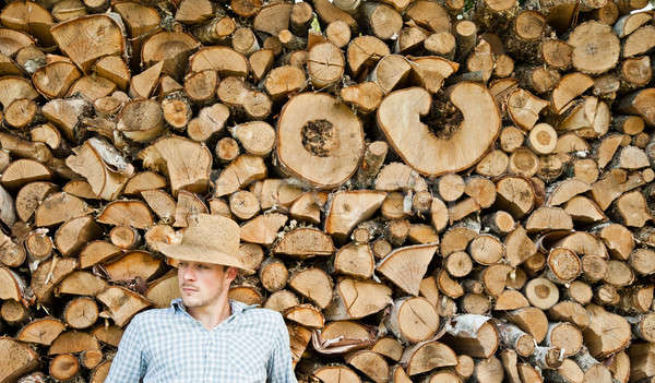 Stock photo: Woodcutter with straw hat on a background of wood