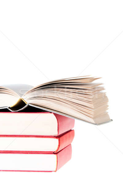 Blanc Book open over tree red books Stock photo © aetb