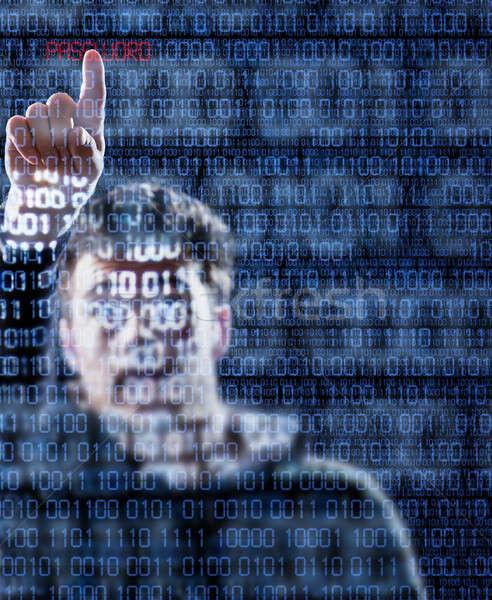Hacker parola el işaret gizlenmiş ikili Stok fotoğraf © aetb