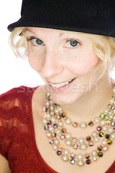 Gyönyörű mosolyog hölgy portré ódivatú stílus Stock fotó © aetb